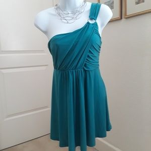 Beautiful green one shoulder sexy blouse